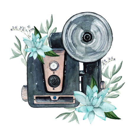 Vintage retro watercolor camera. Perfect for photography design