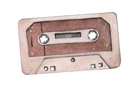 Audio cassette tape watercolor illustration isolated on wahite backgraound
