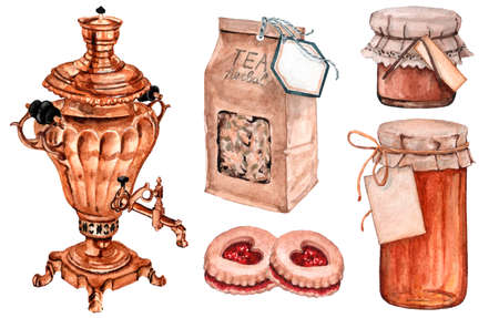 Watercolor set of big gold teapot with herbal tea packaging and sweets for tea party