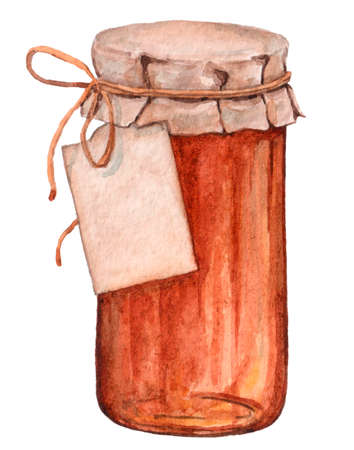 Glass jar with jam and sweet honey.