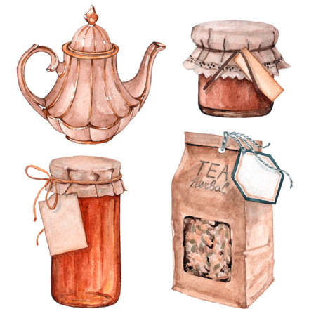 Glass jar with jam and sweet honey, herbal tea packaging and teapot 版權商用圖片