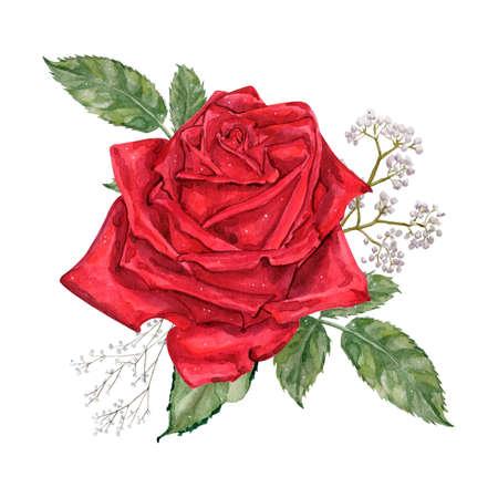 Watercolor vintage illustration of red roses bouquet Stok Fotoğraf