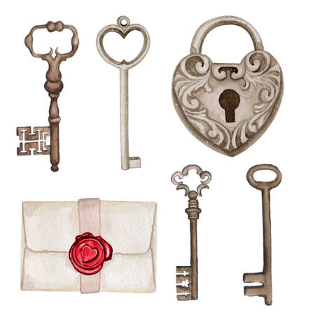 Watercolor illustration of vintage lock and keys