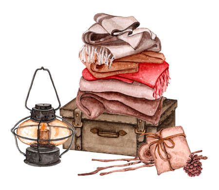 Composition of suitcase, blankets on it, presents and street lamp near it. Watercolor illustration for greeting card Stock Photo