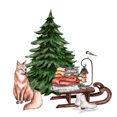 Fir-tree with red fox and wooden sleigh with blankets and pillows, a lamp and skates near it. Watercolor illustration for greeting card