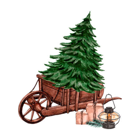 Watercolor wheelbarrow with christmas tree on it. Illustration for greeting cards