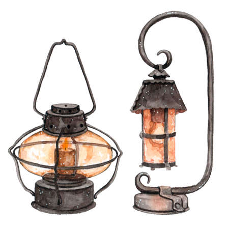 Watercolor street light lamp with fire from candle in it. Vintage watercolor illustration, isolated on white background