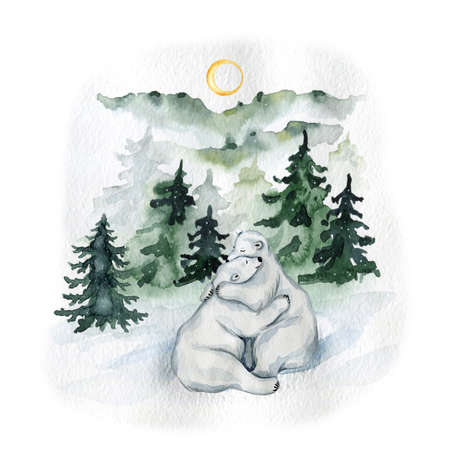 Watercolor cute white polar bears in the north