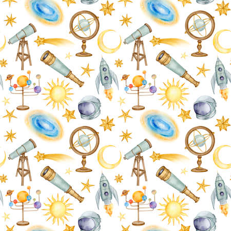 Watercolor astronomy seamless pattern Stock fotó