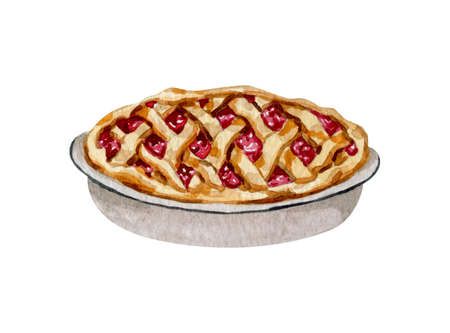 Watercolor home baked pie illustration