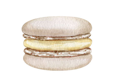 Watercolor French macaroons cookies illustration Reklamní fotografie