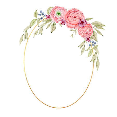 Watercolor floral gold frame and round wreaths