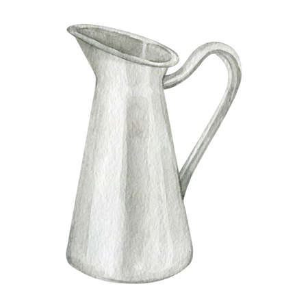 Watercolor white metal jug kitchenware objects