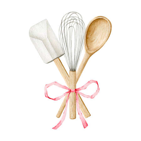 Watercolor kitchen utensils clipart for bakery decoration
