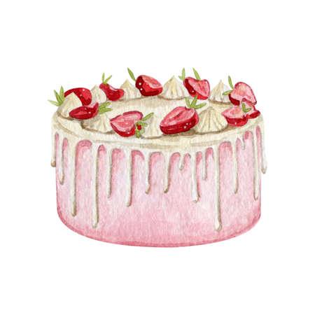 Watercolor sweet cake dessert for bakery logo