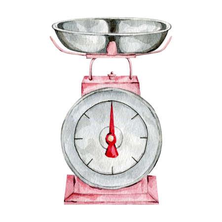 Watercolor bakery scale kitchen utensil Reklamní fotografie