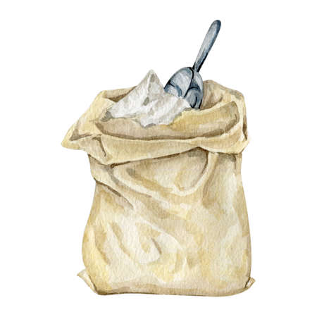 Watercolor sack with pile of flour and metal scoop