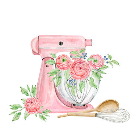 Watercolor pink mixer for creating diy bakery logo Reklamní fotografie