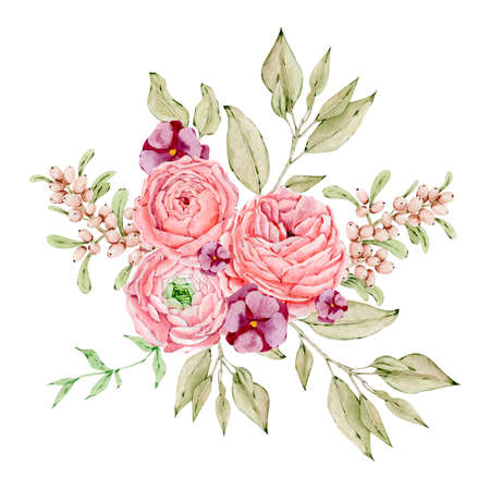 Watercolor illustration of boho floral bouquets