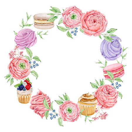 Watercolor bakery round wreath logo with cupcakes and rose flowers