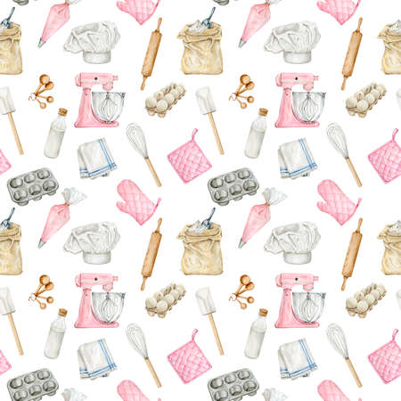 Watercolor seamless pattern for bakery projects
