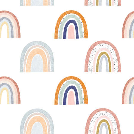 Seamless pattern of trendy cute rainbow illustration in pastel colors isolated elements on white background