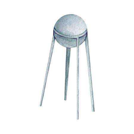 Watercolor space science satellite dish