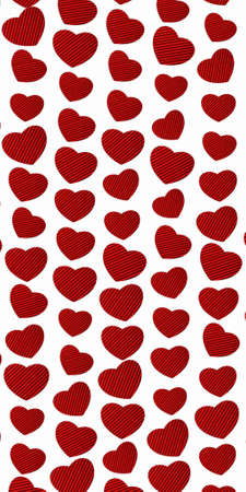 Heart pattern with red texture on a white background Imagens