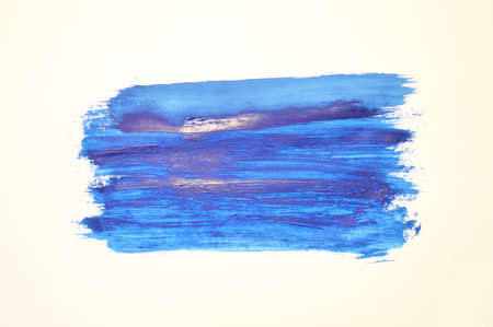 Blue watercolor paint stroke on white background Stock Photo