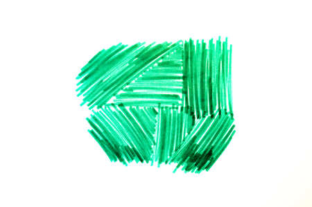 Green marker stroke scribble isolated on white background. Abstract line shape hand drawn by bright highlighter pen, single felt tip texture drawing
