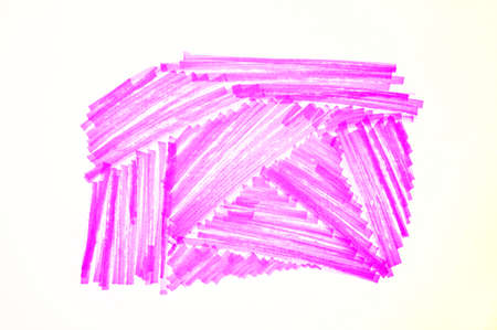 Pink marker stroke scribble isolated on white background. Abstract line shape hand drawn by bright highlighter pen, single felt tip texture drawing 版權商用圖片