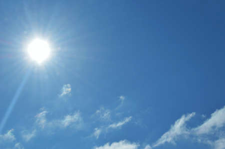 Sun in the blue sky. blue sky background with white clouds. international climate day. world meteorology day. World Wind Day