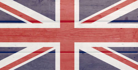 United Kingdom flag painted on wood plank background. Brushed natural light knotted wooden board texture. Wooden texture background flag of United Kingdom Stock fotó