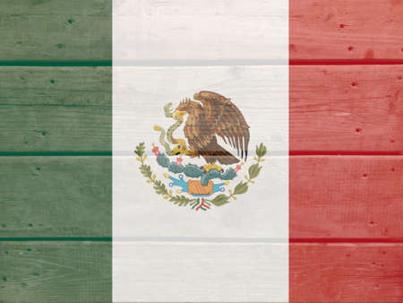 Mexico flag painted on wood plank background. Brushed natural light knotted wooden board texture. Wooden texture background flag of Mexico