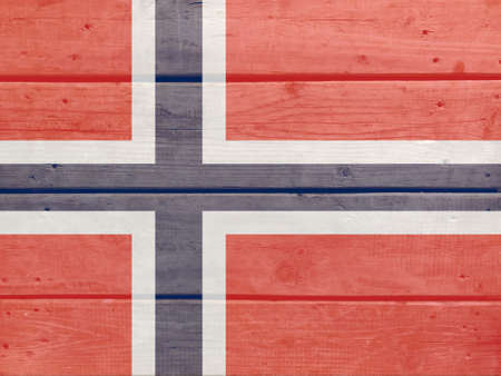 Norway flag painted on wood plank background. Brushed natural light knotted wooden board texture. Wooden texture background flag of Norway