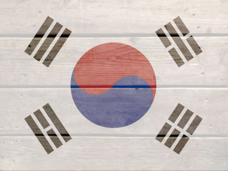Korea flag painted on wood plank background. Brushed natural light knotted wooden board texture. Wooden texture background flag of Korea