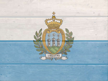 San Marino flag painted on wood plank background. Brushed natural light knotted wooden board texture. Wooden texture background flag of San Marino