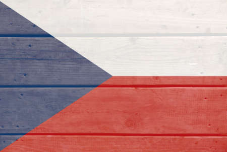 Czech Republic flag painted on wood plank background. Brushed natural light knotted wooden board texture. Wooden texture background flag of Czech Republic