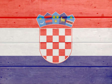 Croatia flag painted on wood plank background. Brushed natural light knotted wooden board texture. Wooden texture background flag of Croatia Stock fotó