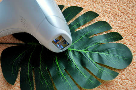 Photoepilator lies on a palm leaf against a background of beige fabric.