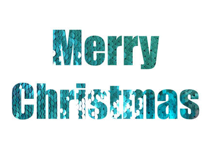 shiny sequins background. Shot through the cut-out silhouette of the word MERRY CHRISTMAS