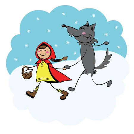 Little Red Riding Hood and gray wolf Illustration