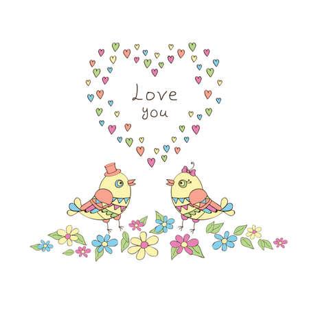 Romantic birds in flowers