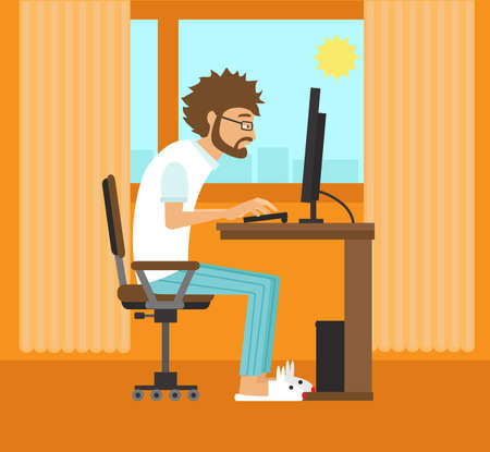 Freelancer on the computer at home