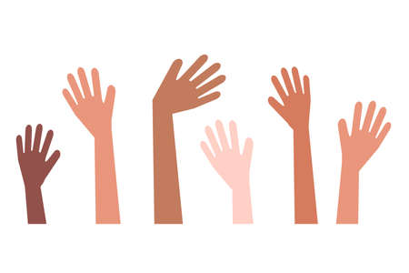 A crowd of different hands. Vector illustration.