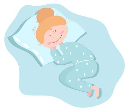 Das Mädchen schläft in ihrem Pyjama. Vektor-Illustration.