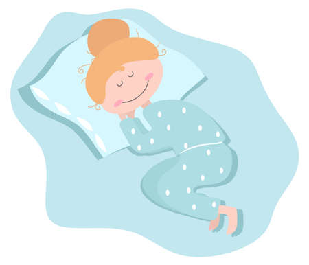 The girl is sleeping in her pajamas. Vector illustration.