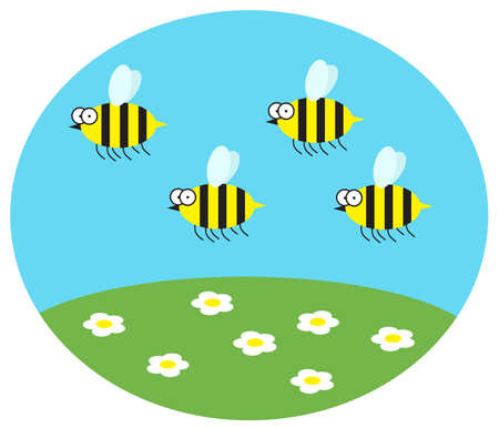Funny bees fly over daisies. Vector illustration.