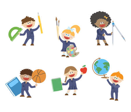 Children with different school things. Vector illustration.