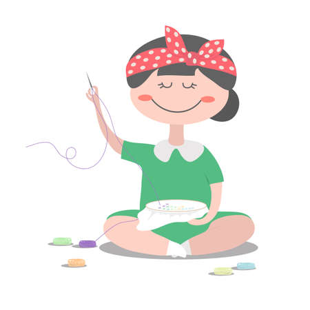 The girl is engaged in cross-stitch embroidery. Vector illustration. Ilustrace